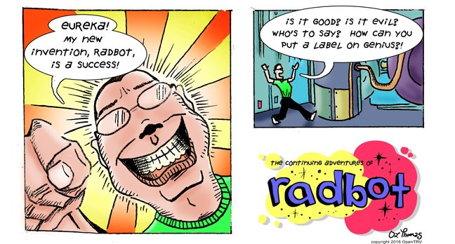 panel 1: Eureka! - my new invention - Radbot!