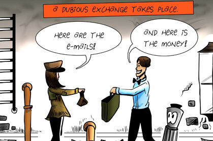 panel 5: a dubious exchange