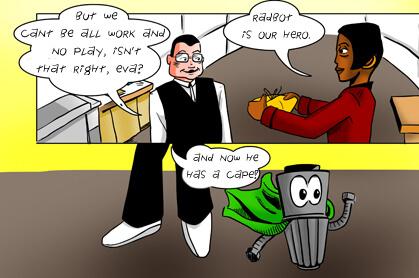 panel 7: Radbot is our hero!