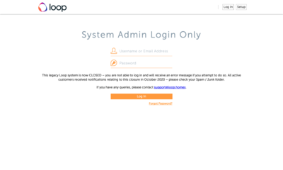 Screenshot 20210118 System Admin Login Only legacy system closed