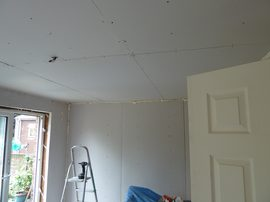 basic dry-lining and ceiling done