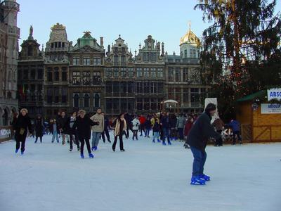 Brussels Grand Place ice skating at Christmas