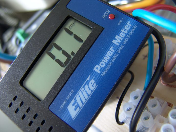 E flite DC inline power and energy meter measures A Amps V Volts W Watts and overall Ah Amp hours for my 12V RE Renewable Energy system closeup 1 DHD