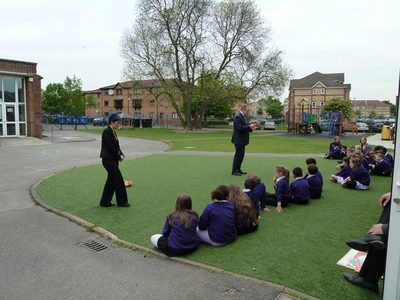 Edward Davey Energy and Climate Change Secretary DECC declaring open new solar PV grid tie roof mounted power system on school roof 20120518 64 DHD