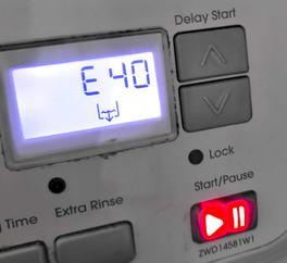 E40 error code and flashing red button on slightly-grubby well-used Zanussi washer-drier control panel