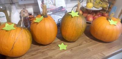 pumpkins homegrown four 12kg total 20191011 on kitchen counter cropped tweaked 2 DHD