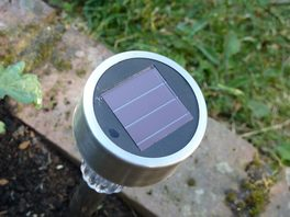 solar garden light 97p Wilko brand built from PV and LED closeup 1 DHD