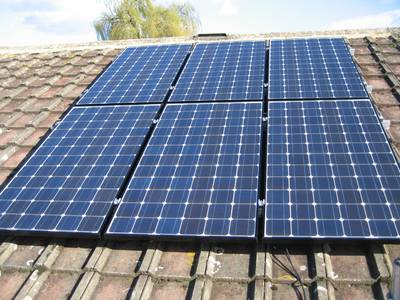 domestic solar PV panels on roof