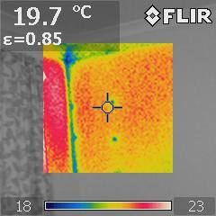 cold spots seen at corner and from steel fixing screws