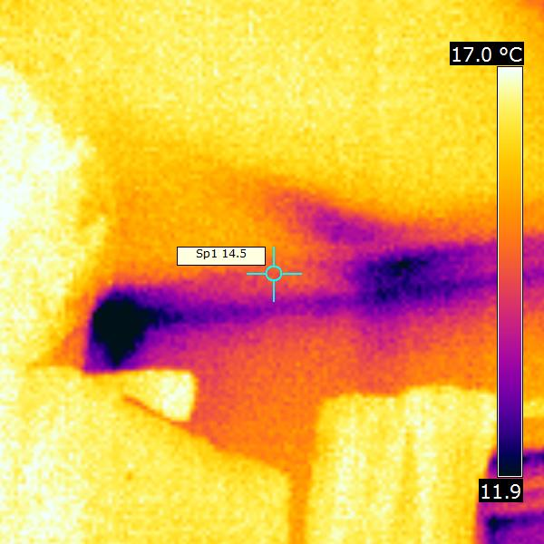 thermal imaging of house interior and exterior on chilly March morning about 4C ambient with Flir Systems b50 in Kingston London England 52 DHD