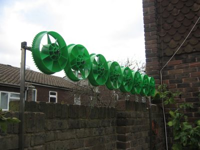 MotorWind assembled and erected with 8 green rotors